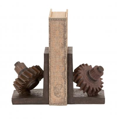 55619 rusted gear themed book end set