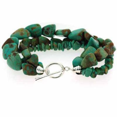 Genuine Green Turquoise Nugget and Chip Toggle Bracelet