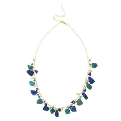 18K Gold over Sterling Silver Denim Lapis & Created Turquoise Dangling Chips Necklace, 18-21'