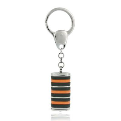 Stainless Steel Orange and Black Striped Key Ring