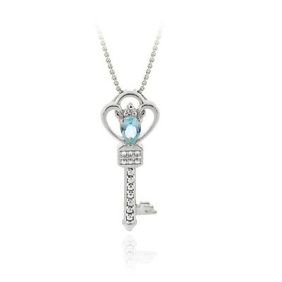 Sterling Silver Blue Topaz & Diamond Accent Crown Key Pendant Necklace