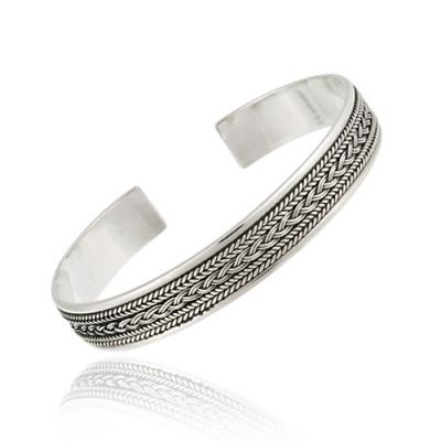 Sterling Silver Vintage Rope Pattern Bangle