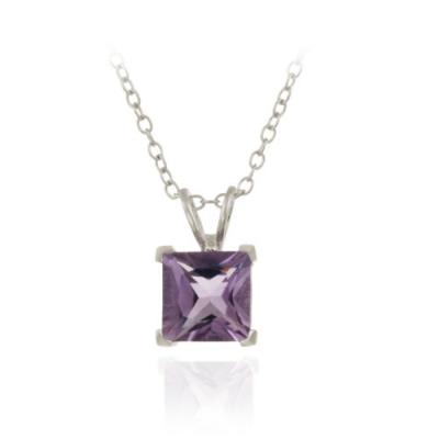 Sterling Silver 1.65ct TGW Amethyst 7mm Square Solitaire Pendant, 18'