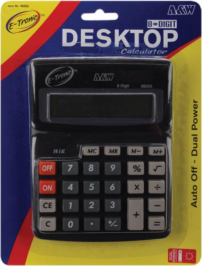 Desktop Calculator 8-Digit 7.5''X5.75''-Dual Power