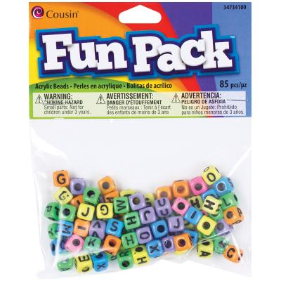 Fun Pack Acrylic Alphabet Beads-Square Rainbow 85/Pkg