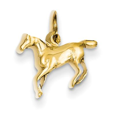 14k Yellow or White Gold Polished Horse Charm
