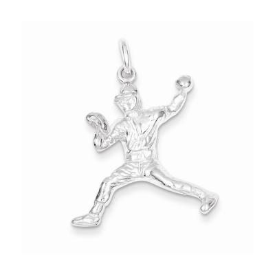 Sterling Silver Baseball Pitcher Charm
