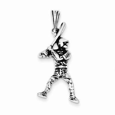Sterling Silver Antiqued Baseball Player Charm
