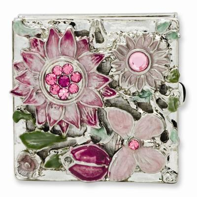 Silver-tone Textured Pink or Lavender Enameled Floral Square Brass Pillbox