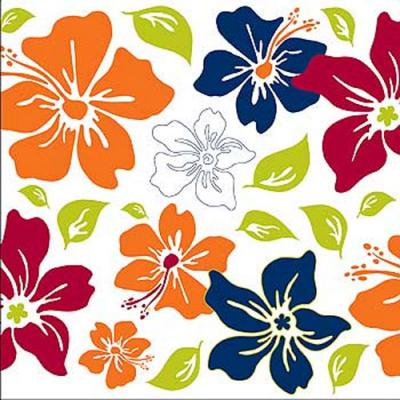 Tropical Flower Square Self-Stick 5pc Wall Accent Stickers
