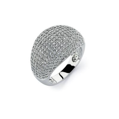 925 Sterling Silver Ladies Jewelry 925 Ring w/ Micropave Clear Round Cut Cubic Zirconia Cigar Band