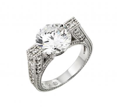 925 Sterling Silver Ladies Jewelry This Is A Ring w/ Large Cubic Zirconia Center Atop High Ring Set ting.Center Cubic Zirconia Diameter Is 10mm   And Ring Width Is 3.8mm