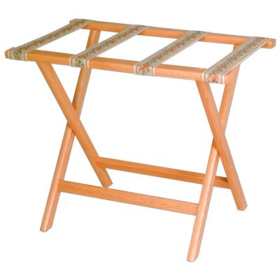 Wooden Mallet Deluxe Straight Leg Luggage Rack with Tapestry Webbing Light Oak
