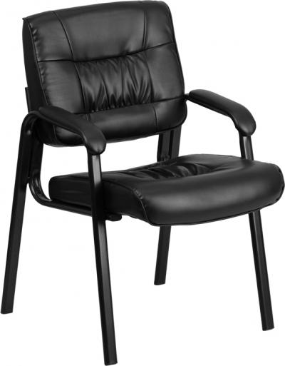 Black Leather Guest / Reception Chair with Black Frame Finish [BT-1404-GG]