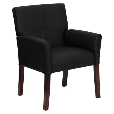 Black Leather Executive Side Chair or Reception Chair with Mahogany Legs [BT-353-BK-LEA-GG]