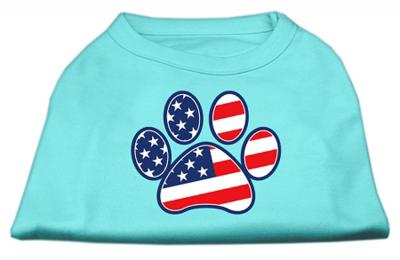 Patriotic Paw Screen Print Shirts Aqua XXXL(20)