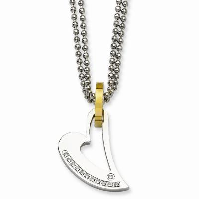 Stainless Steel IPG 24k Plating Circle & Heart w/CZs 22in Necklace