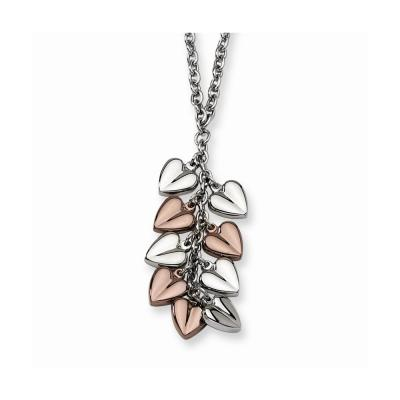 Stainless Steel Polished & Chocolate Plated Hearts 22in Necklace
