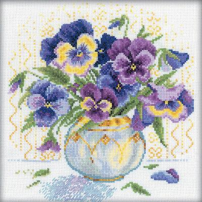 RTO Counted Cross Stitch Kit 9''X9''-Pansies (14 Count)