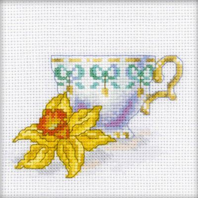 RTO Counted Cross Stitch Kit 4.75''X4.75''-Daffodil Tea Party (14 Count)