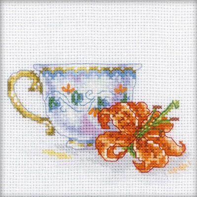 RTO Counted Cross Stitch Kit 4.75''X4.75''-Lily Tea Party (14 Count)