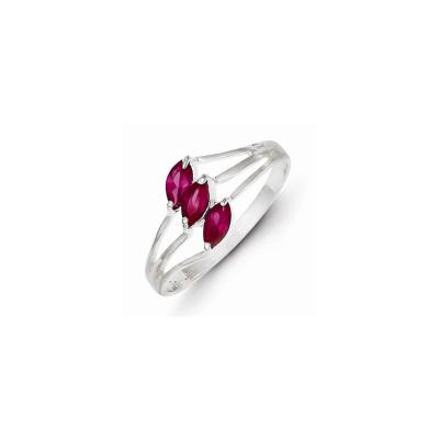 Sterling Silver Red 3-stone Marquise CZ Ring