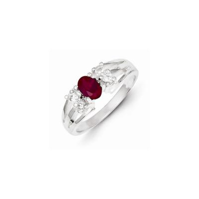 Sterling Silver Red Oval CZ w/Side Stones Ring