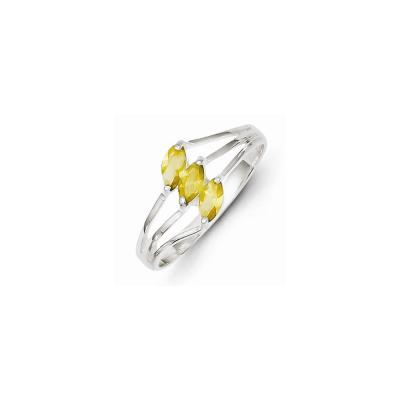 Sterling Silver Yellow 3-stone Marquise CZ Ring