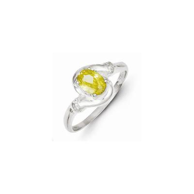 Sterling Silver Yellow Oval CZ Ring