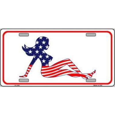 Patriotic American Flag Mud Flap Girl Novelty Vanity Metal License Plate Tag Sign