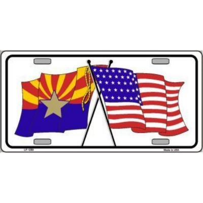 Arizona American Crossed Flags Novelty Metal License Plate Tag Sign