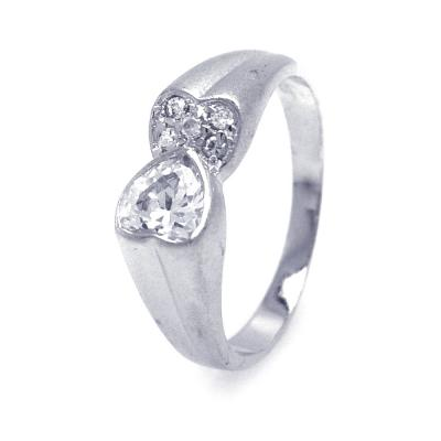 .925 Sterling Silver Rhodium Plated Clear Cubic Zirconia Double Heart Ends Ring