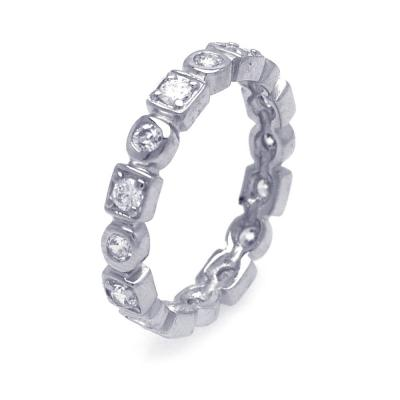.925 Sterling Silver Rhodium Plated Clear Square Round Cubic Zirconia Stackable Eternity Ring