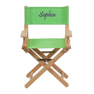 Flash Furniture Embroidered Kid Size Directors Chair in Green