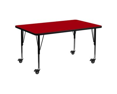 Flash Furniture Mobile 30''W x 60''L Rectangular Activity Table with Red Thermal Fused Laminate Top and Height Adjustable Pre-School Legs [XU-A3060-REC-RED-T-P-CAS-GG]