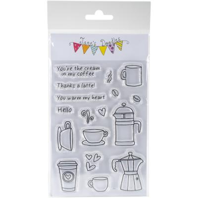 Janes Doodles Clear Stamps 4'X6'-Coffee Time