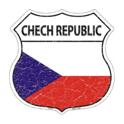 Chech Republic Country Flag Highway Shield Metal Sign HS-230