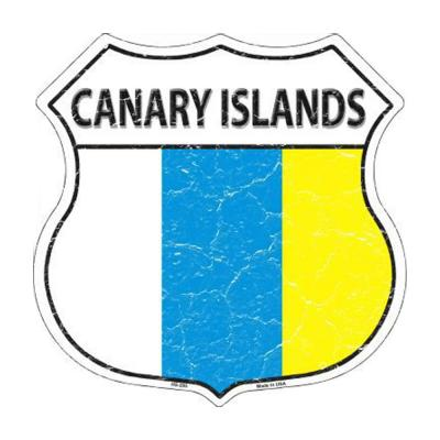 Canary Islands Country Flag Highway Shield Metal Sign HS-205