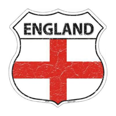 Smart Blonde England Country Flag Highway Shield Metal Logo Sign HS-241