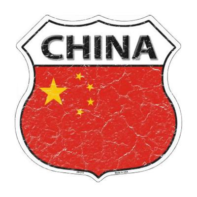 Smart Blonde China Country Flag Highway Shield Metal Logo Sign HS-213