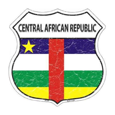 Central African Republic Country Flag Highway Shield Metal Sign HS-209
