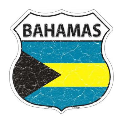 Smart Blonde Bahamas Country Flag Highway Shield Metal Logo Sign HS-180