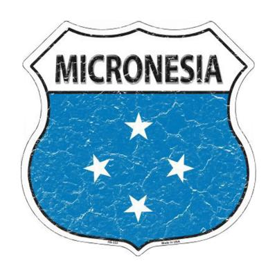 Smart Blonde Lightweight Durable Micronesia Country Flag Highway Shield Metal Sign HS-333