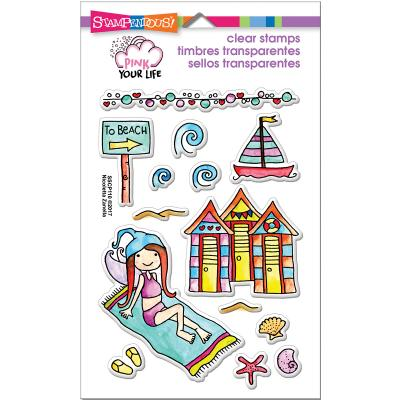 Stampendous Pink Your Life Perfectly Clear Stamps -Whisper Friends - Beach Day