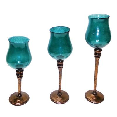 Striking Hurricane Glass Candle Holder Set of 3 - Benzara