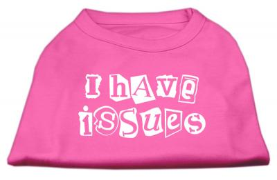 Mirage Pet I Have Issues Screen Printed 10'' Dog Sleeveless Shirt Bright Pink Small