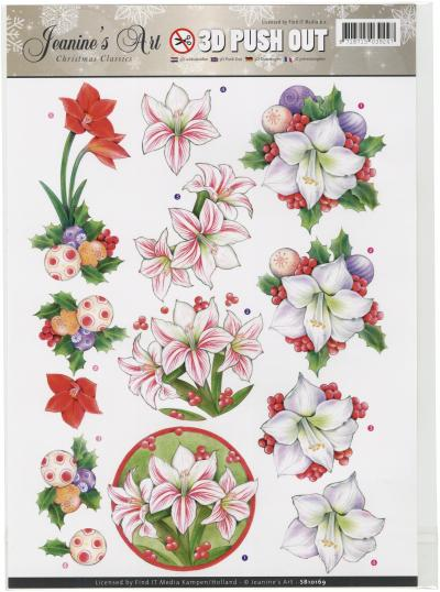 Find It Jeanines Art Christmas Classics Punchout Sheet-Flowers & Ornaments
