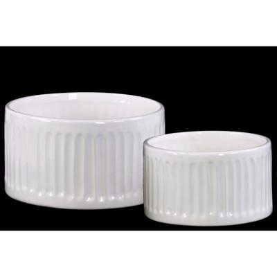 Elegant Ribbed Round Pot Set of Two- White- Benzara