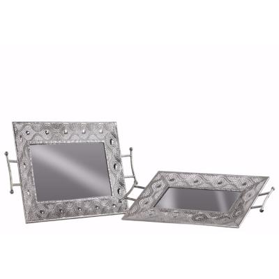 Rectangular Tray with Mirror Surface, 2 Handles Set of 2- Silver- Benzara