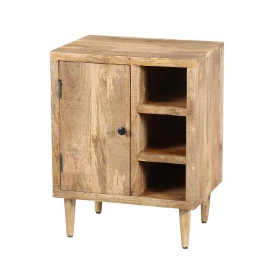 Transitional Mango Wood Side Table with Open Cubbies and Door Storage, Natural Brown